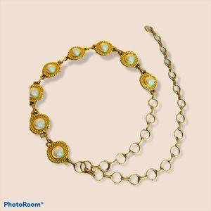 Vintage faux pearl medallion gold chain belt